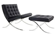 #3000 Mid Century designed barcelona style 2pc: Chair + Ottoman set