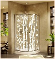 New BIG BAMBOO Etched Glass Clear Decorative Static Cling Window & Door Film