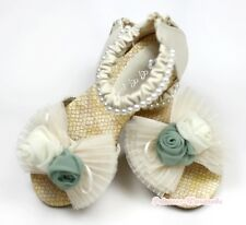 Beige Ruffle Bow Rose Pearl Party Casual Sandals Shoes for Kids Girls 2688-32