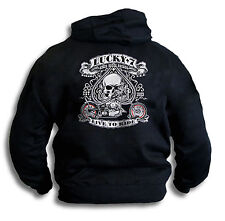 Biker Harley Ace USA Lucky 7 Seven Live To Ride Mens Hoddie Hooded Top Sm - 2XL
