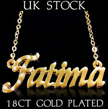 FATIMA NAME NECKLACE 18ct Gold Plated Asian/Arabic Personalised Jewellery Gift