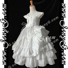 #A601 Flower Girl/Pageant/Communions/Formal/Wedding Gowns Dress, White 1-9 Years