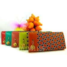 Fashion Straw Hat Bowknot PU Leather Lady Women Girl Long Clutch Wallet Purse