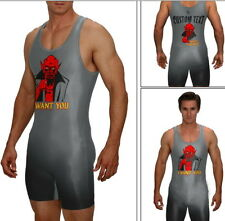 Demon I WANT YOU wrestling singlet with custom text included