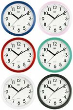 Trevi Round Wall Clock • Silent Sweep Movement Black - Pink - Blue - Red - Green