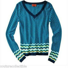 NEW! Authentic Missoni Target Womens V-neck Sweater Textured Knit Blue Via
