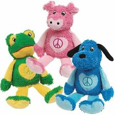 Dog Toy Peace Party Squeaker Soft Moppy Plush Puppy Play Bright Colors