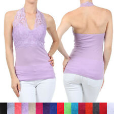 N21 SEXY LACE HALTER NECK COTTON TOP Lace Trim Sleeveless Padded 20 COLOR RT1571