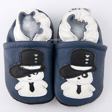 Baby Boy Infant Soft Sole Leather Shoes Blue Snowman B19 US0-7 0-6-12-18-24M