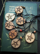 Wooden Pentagram Pendant with Cord - Pagan, Wiccan, Witchcraft, Pentacle
