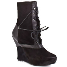BACIO 61 NATURA LACE UP ROUND TOE WEDGE PLATFORM BLACK SUEDE ANKLE BOOTIE