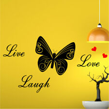 LIVE LAUGH LOVE BUTTERFLY bedroom living room quote sticker wall art stickers