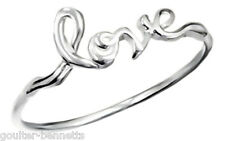 925 Sterling Silver Love Cursive Script Writing Text Word Band Ring Free UK P&P