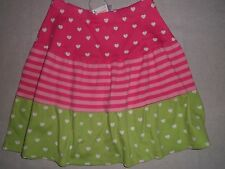Gymboree LOVEABLE GIRAFFE Pink Green White Heart Print Striped Block Skirt NWT 6