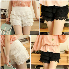 Hot Sexy Womens Korean Sweet Cute Crochet Tiered Lace Skorts Shorts Short Pants