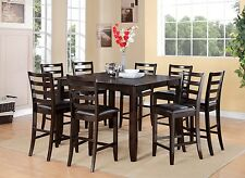 9PC SQUARE COUNTER HEIGHT SET DINING ROOM TABLE & 8 LEATHER CHAIRS IN CAPPUCCINO