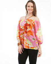 Pink Floral Tropical Off Shoulder Chiffon Top Blouse 1X 2X 3X Sheer Plus New