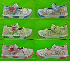Girls Glitter Velcro Shoes New Canvas Flower Wide Fit Pink Blue Green Size 3-11