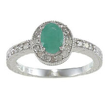 1.50ct Genuine Emerald Diamond Ring Vintage Style in Sterling Silver