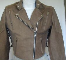 New Womens Premium Buck Brown Vented Leather Motorcycle biker Petite Jacket $249