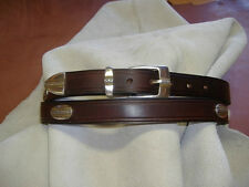English Bridle Leather Golf Concho Belt - Two Tone Conchos - Insko Leather