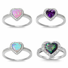 .925 Sterling Silver 10MM & 13MM Heart Design CZ Engagement Rings With Stones