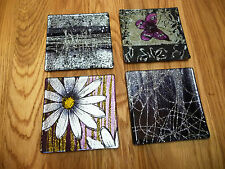 Set of 4 Handpainted Square Glass Coasters - Assorted designs Available