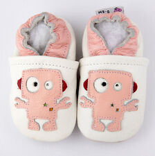 Baby Girl Infant Soft Sole Leather Shoes White Pink Robot G11 US 0-7 0-6-12-24M