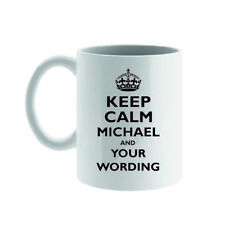 PERSONALISED KEEP CALM AND CARRY ON MUG/COASTER,YOUR NAME & WORDING GIFT/PRESENT