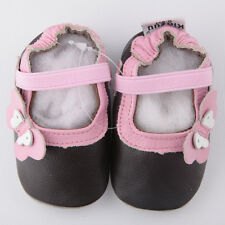 Baby Girl Infant Soft Sole Leather Black Shoes Butterfly G33 US0-7 0-6-12-24M