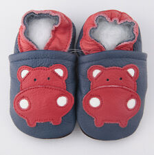 Baby Boy Infant Soft Sole Leather Shoes Blue Red Hippo B25US0-7 0-6-12-18-24M