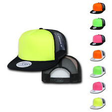 DECKY BLANK FLAT BILL NEON FOAM MESH TRUCKER HATS HAT CAPS CAP SNAPBACK TWO TONE