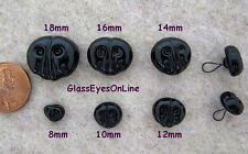 3 Black Glass Noses On Wire Loops 14mm to 18mm Sew On Teddy Bears, Animals  GN-1