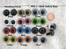 10 PAIR 18mm to 21mm Plastic Safety Eyes  Choose SIZE & COLOR teddy bears PE-1
