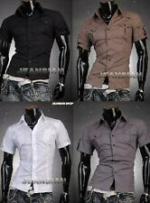 Men's Designer Military Slim Dress Short Shirts Tops Western S M L XL JS8360