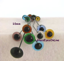 7 PAIR 9mm to 14mm Glass Eyes Wire Mix Colors Teddy bears, dolls, fish lure  201