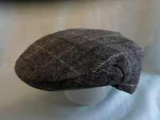 GENTS TRADITIONAL GREY FLECK WHITE SCOTTISH HARRIS TWEED WOOL SCOTS FLAT CAP