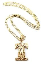 """NEW DEATHROW RECORDS PENDANT 5mm & 24"""" HIP HOP FIGARO CHAIN NECKLACE XSP354"""