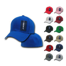 DECKY Classic Plain Fitted Pre Curved Bill 6 Panel Baseball Hats Hat Caps Cap