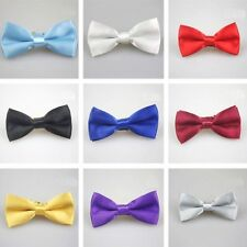 Children Kids Boys Toddler Infant Solid Bowtie Pre Tied Wedding Bow Tie Necktie