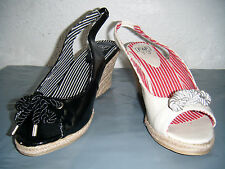 Ladies Ex Chainstore Cream Or Black Peep Toe Wedge Sandals.  Sizes 3 to 8
