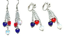 PATRIOTIC RED WHITE BLUE HEART PIERCED or CLIP ON DANGLE EARRINGS (D262)