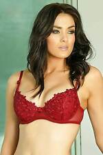 Burgundy contour bra with mesh wing section in sizes 14B or 14C #210