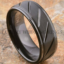 Mens Tungsten Carbide Ring Infinity 8mm Wedding Band Jewelry Black Size 6-13