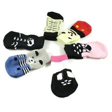 New Fashion Pet Dog Soft Cotton Anti-slip Knit Weave Warm Sock Skid Bottom 4Pcs