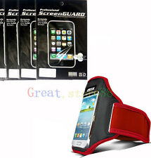 RED Sport Armband Case + 3x Screen Protector Film for HTC Cell Phones 2013 NEW