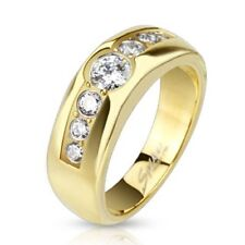 Stainless Steel Gold IP Central CZ Band 7mm Ring with Paved CZ on Sides R547