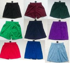 NEW Boys Girls School Gym Football Sports P.E Shadow Stripe Shorts 2 - 16 Years