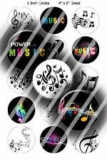 Pre-Cut Bottle Cap Images - Music Notes 1 Inch Circles
