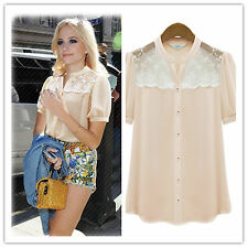Celebrity Sweet See-through Lace Jacquard Stitching Solid Collarless Shirt Top